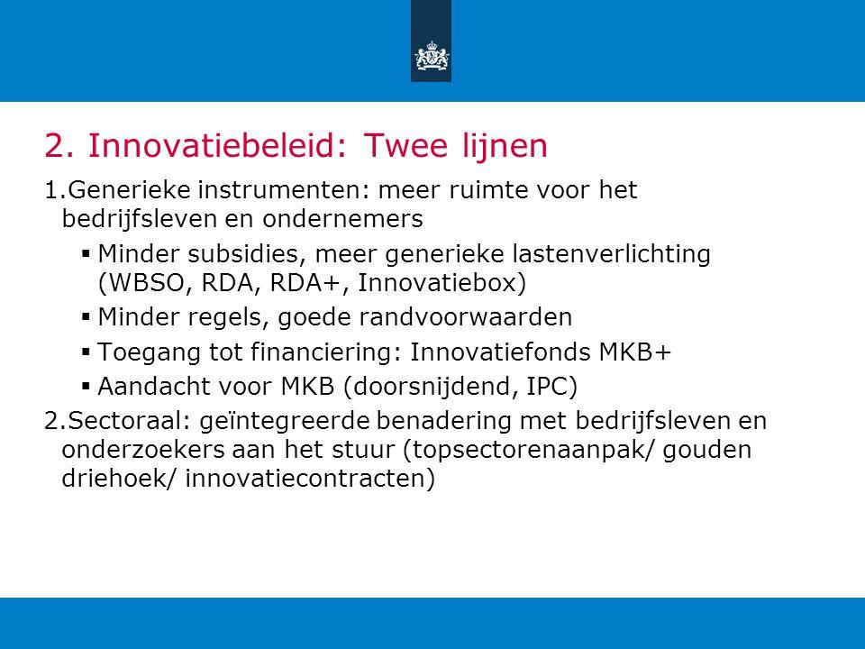 2. Innovatiebeleid: Twee lijnen 1.Generieke instrumenten: meer ruimte voor het bedrijfsleven en ondernemers  Minder subsidies, meer generieke lastenv