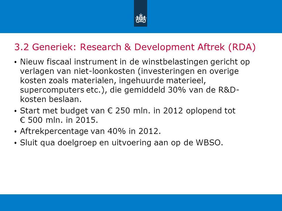 3.2 Generiek: Research & Development Aftrek (RDA) Nieuw fiscaal instrument in de winstbelastingen gericht op verlagen van niet-loonkosten (investering