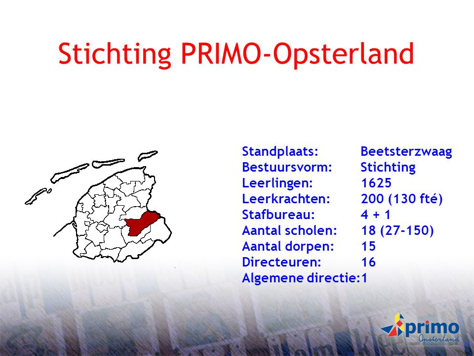 1 Stichting PRIMO-Opsterland Standplaats:Beetsterzwaag Bestuursvorm: Stichting Leerlingen:1625 Leerkrachten:200 (130 fté) Stafbureau:4 + 1 Aantal scho