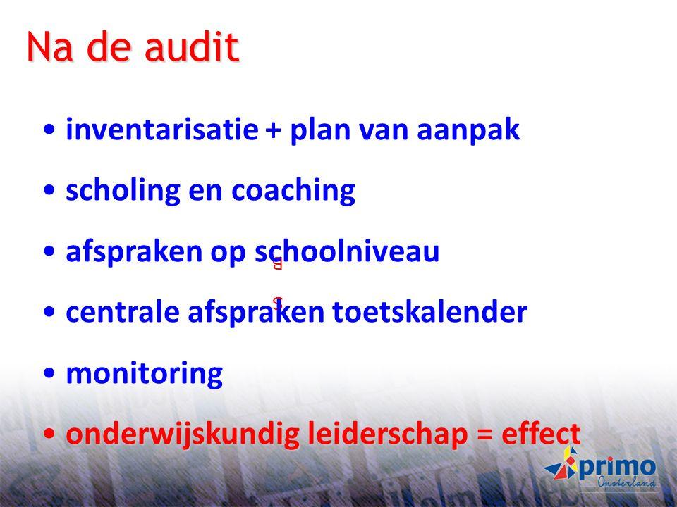 21 S BS B Na de audit inventarisatie + plan van aanpak scholing en coaching afspraken op schoolniveau centrale afspraken toetskalender monitoring onde
