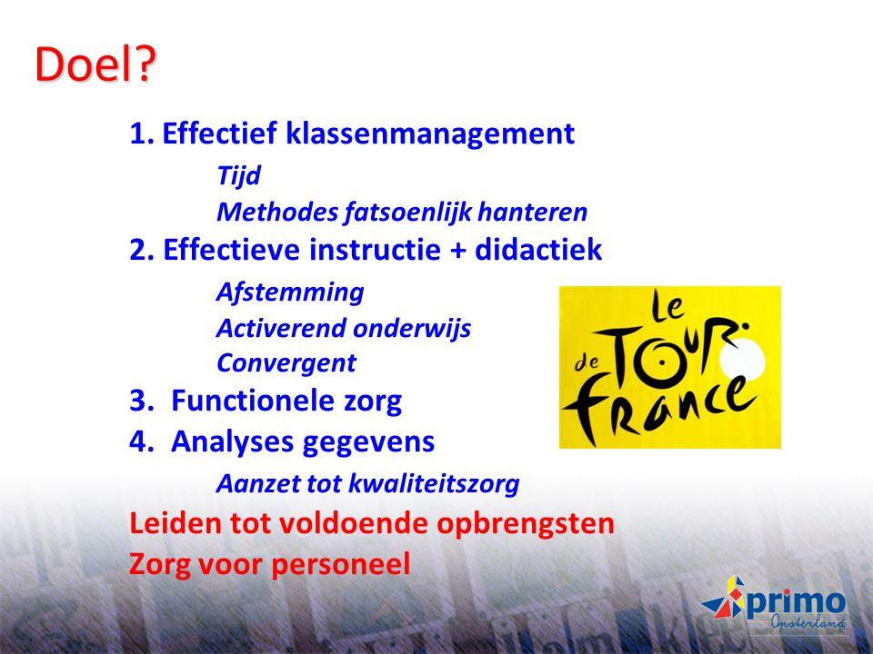 23 Doel? 1.Effectief klassenmanagement Tijd Methodes fatsoenlijk hanteren 2. Effectieve instructie + didactiek Afstemming Activerend onderwijs Converg