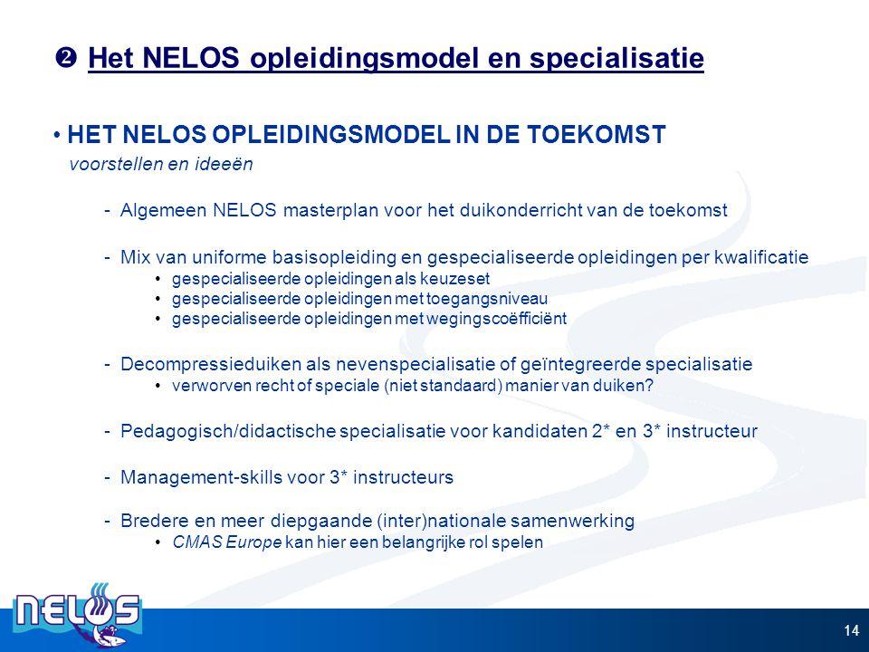  Het NELOS opleidingsmodel en specialisatie HET NELOS OPLEIDINGSMODEL IN DE TOEKOMST voorstellen en ideeën -Algemeen NELOS masterplan voor het duikon
