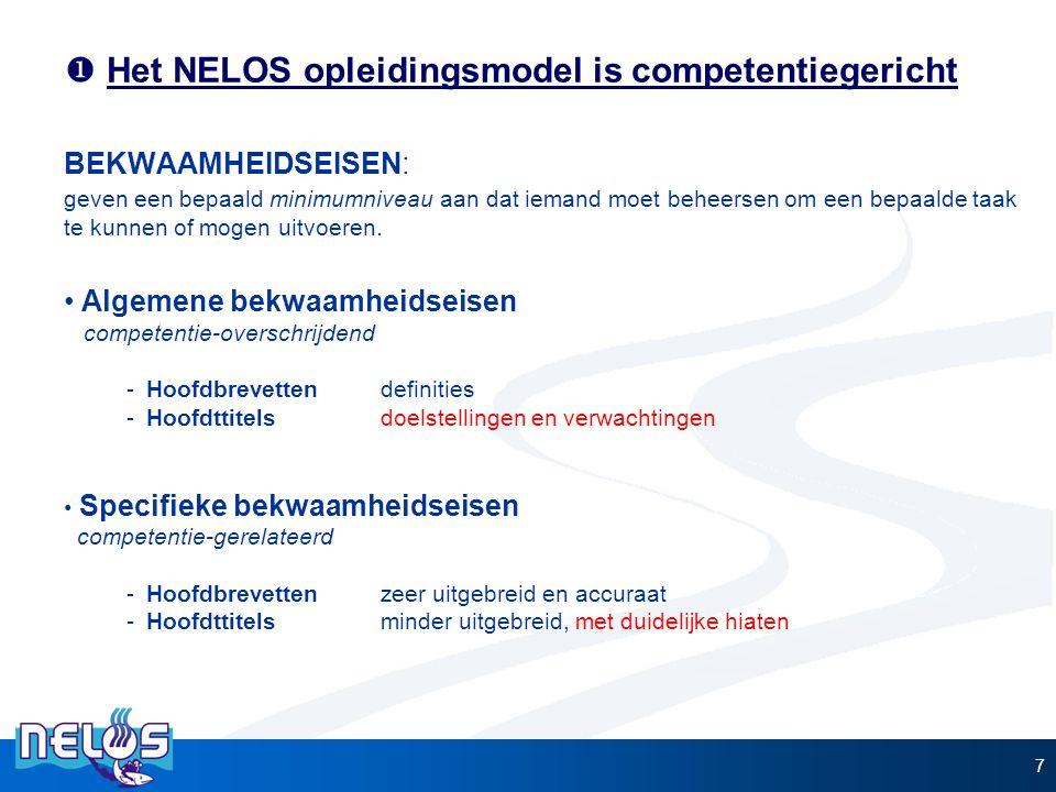  Het NELOS opleidingsmodel is competentiegericht 7 BEKWAAMHEIDSEISEN: geven een bepaald minimumniveau aan dat iemand moet beheersen om een bepaalde t
