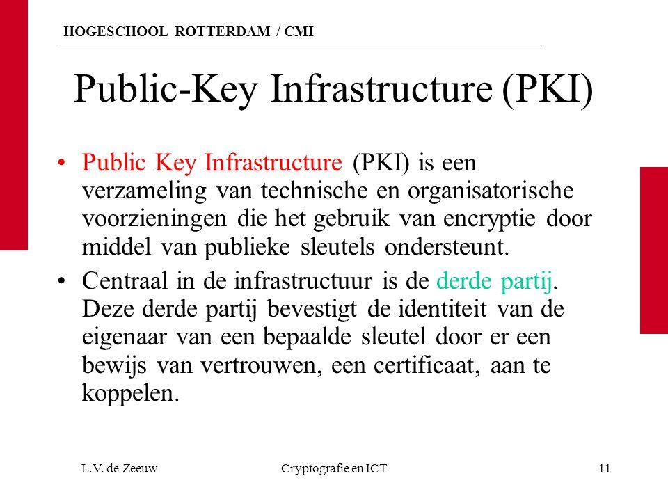 HOGESCHOOL ROTTERDAM / CMI Public-Key Infrastructure (PKI) Public Key Infrastructure (PKI) is een verzameling van technische en organisatorische voorzieningen die het gebruik van encryptie door middel van publieke sleutels ondersteunt.