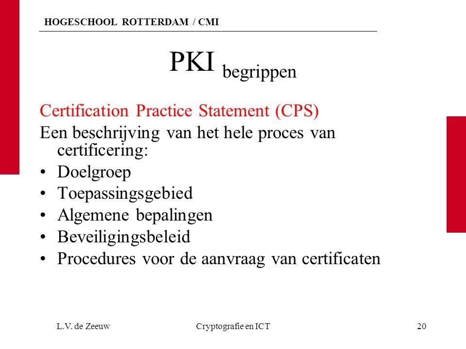 HOGESCHOOL ROTTERDAM / CMI PKI begrippen Certification Practice Statement (CPS) Een beschrijving van het hele proces van certificering: Doelgroep Toepassingsgebied Algemene bepalingen Beveiligingsbeleid Procedures voor de aanvraag van certificaten L.V.