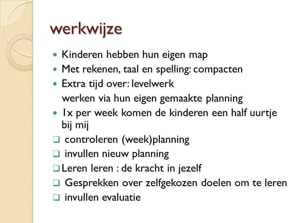 werkwijze Kinderen hebben hun eigen map Met rekenen, taal en spelling: compacten Extra tijd over: levelwerk werken via hun eigen gemaakte planning 1x