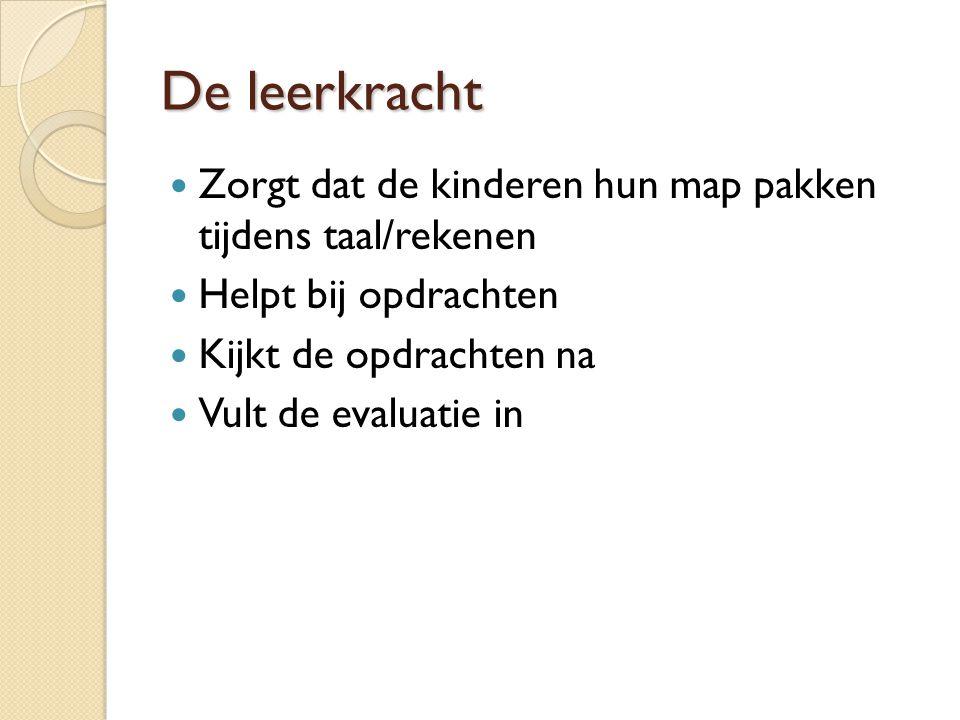 De leerkracht Zorgt dat de kinderen hun map pakken tijdens taal/rekenen Helpt bij opdrachten Kijkt de opdrachten na Vult de evaluatie in