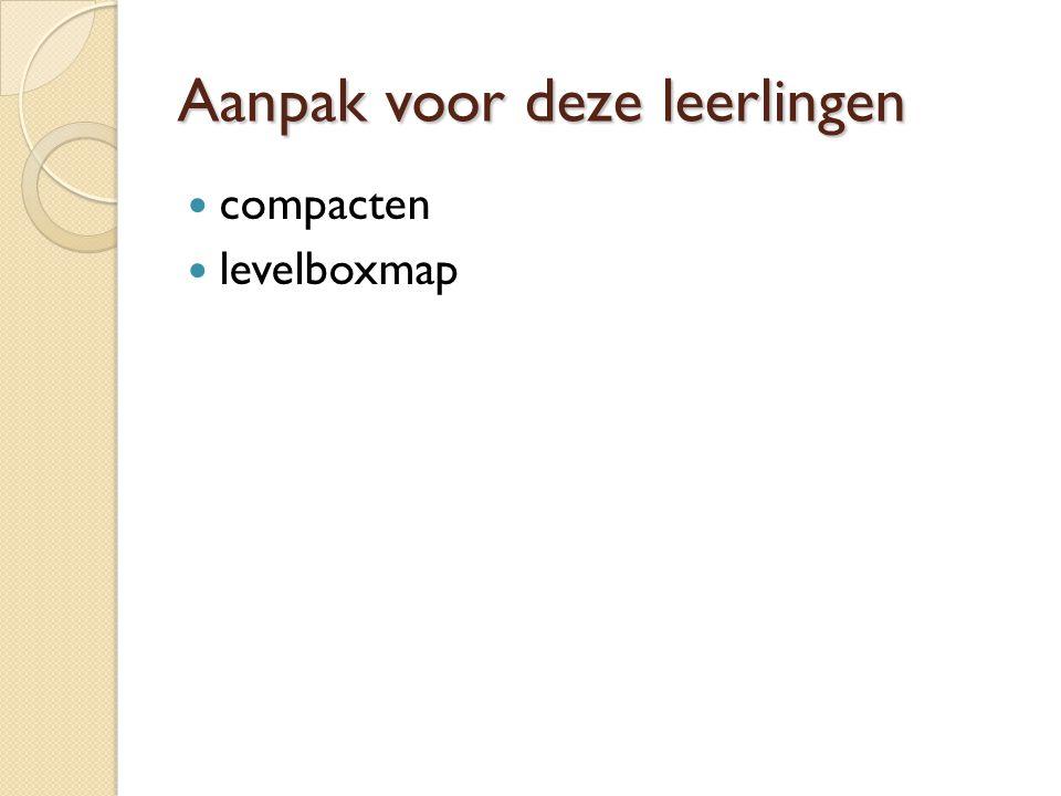 Aanpak voor deze leerlingen compacten levelboxmap