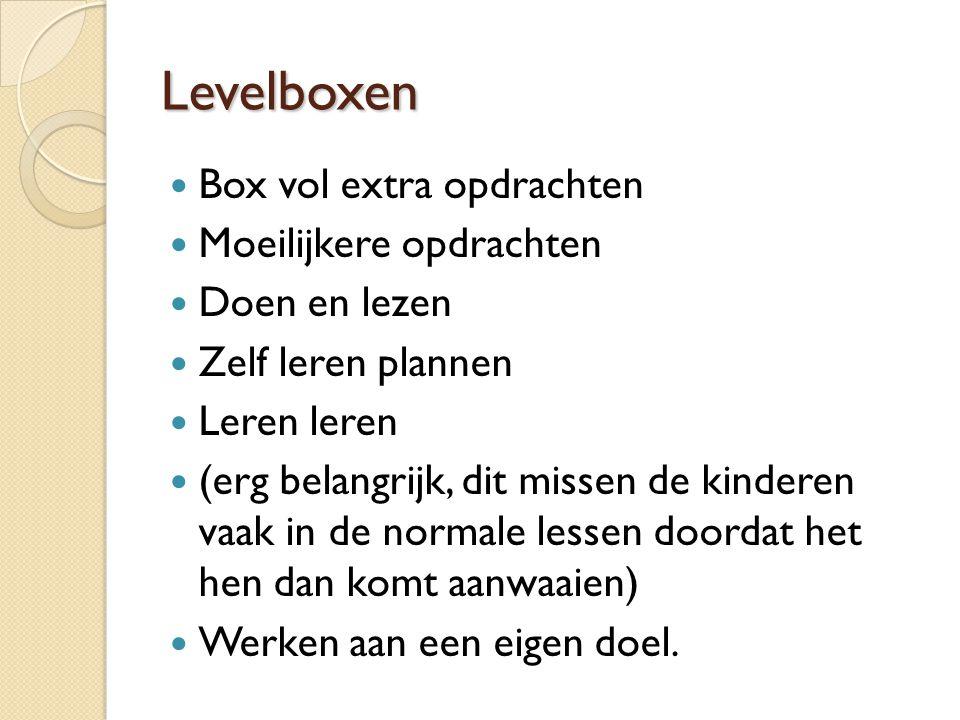 Levelboxen Box vol extra opdrachten Moeilijkere opdrachten Doen en lezen Zelf leren plannen Leren leren (erg belangrijk, dit missen de kinderen vaak in de normale lessen doordat het hen dan komt aanwaaien) Werken aan een eigen doel.