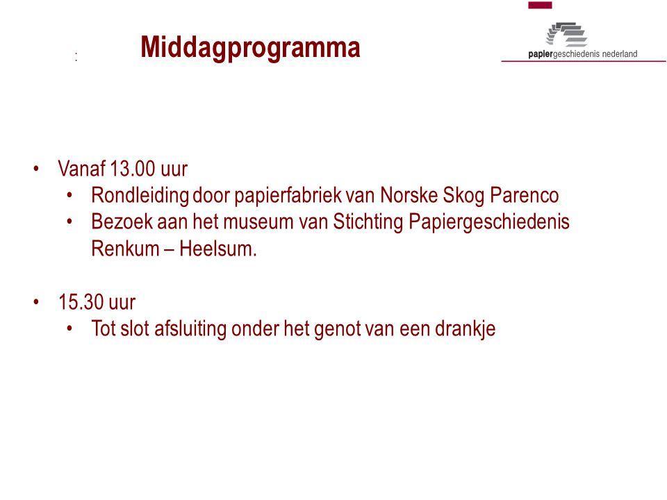 Vanaf 13.00 uur Rondleiding door papierfabriek van Norske Skog Parenco Bezoek aan het museum van Stichting Papiergeschiedenis Renkum – Heelsum. 15.30