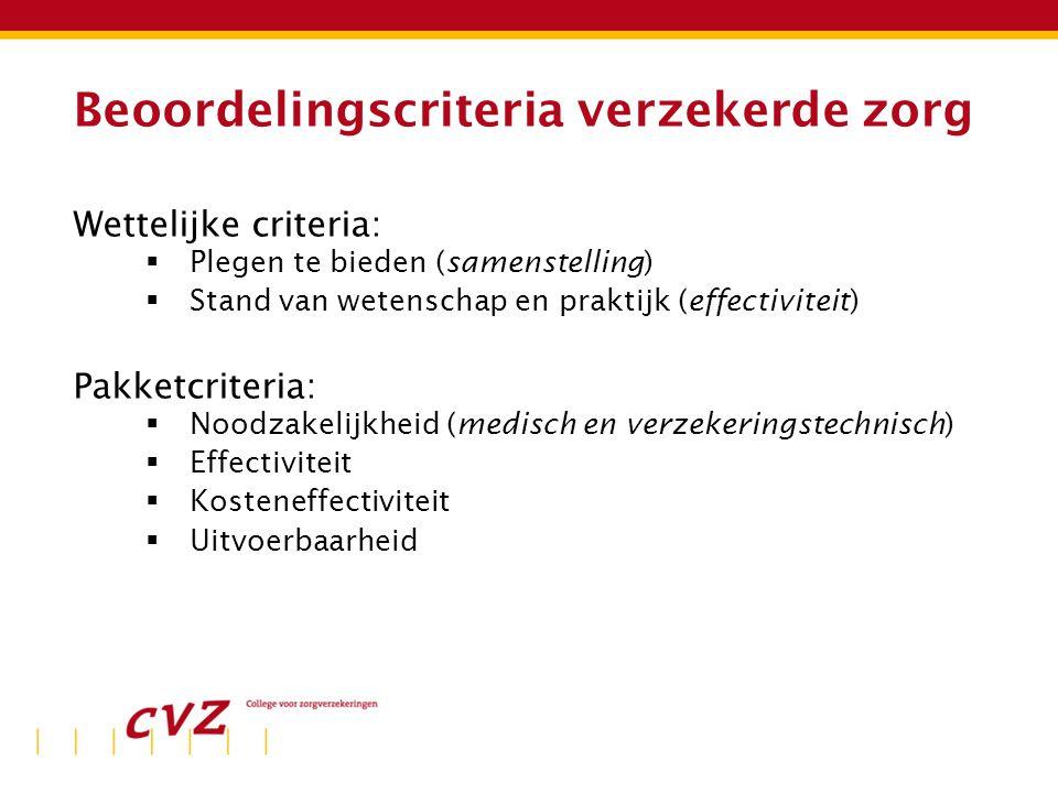 Beoordelingscriteria verzekerde zorg Wettelijke criteria:  Plegen te bieden (samenstelling)  Stand van wetenschap en praktijk (effectiviteit) Pakketcriteria:  Noodzakelijkheid (medisch en verzekeringstechnisch)  Effectiviteit  Kosteneffectiviteit  Uitvoerbaarheid