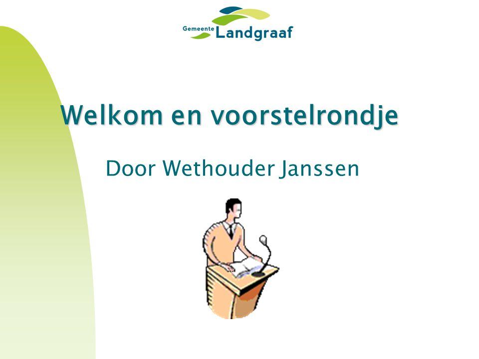 Welkom en voorstelrondje Door Wethouder Janssen