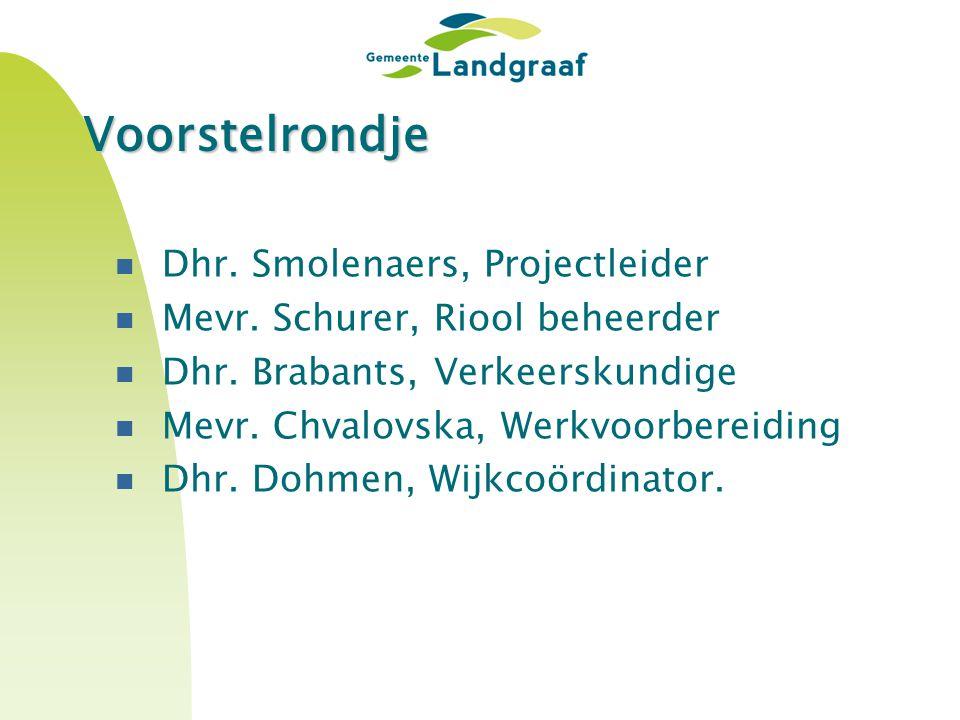 Voorstelrondje Dhr.Smolenaers, Projectleider Mevr.