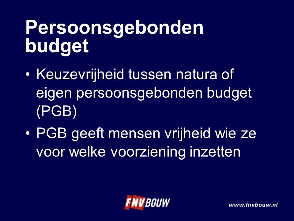 Persoonsgebonden budget Keuzevrijheid tussen natura of eigen persoonsgebonden budget (PGB) PGB geeft mensen vrijheid wie ze voor welke voorziening inz