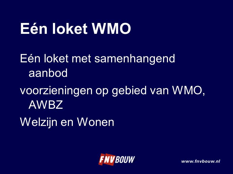 Eén loket WMO Eén loket met samenhangend aanbod voorzieningen op gebied van WMO, AWBZ Welzijn en Wonen