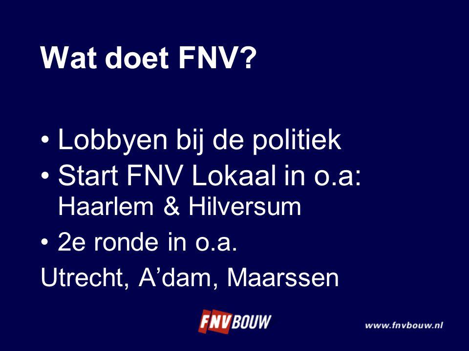 Wat doet FNV? Lobbyen bij de politiek Start FNV Lokaal in o.a: Haarlem & Hilversum 2e ronde in o.a. Utrecht, A'dam, Maarssen