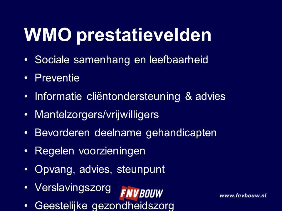WMO prestatievelden Sociale samenhang en leefbaarheid Preventie Informatie cliëntondersteuning & advies Mantelzorgers/vrijwilligers Bevorderen deelnam