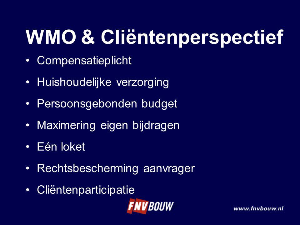 WMO & Cliëntenperspectief Compensatieplicht Huishoudelijke verzorging Persoonsgebonden budget Maximering eigen bijdragen Eén loket Rechtsbescherming a