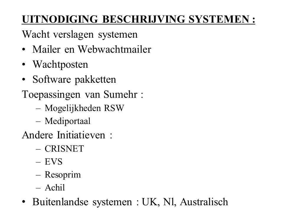 UITNODIGING BESCHRIJVING SYSTEMEN : Wacht verslagen systemen Mailer en Webwachtmailer Wachtposten Software pakketten Toepassingen van Sumehr : –Mogelijkheden RSW –Mediportaal Andere Initiatieven : –CRISNET –EVS –Resoprim –Achil Buitenlandse systemen : UK, Nl, Australisch 2.
