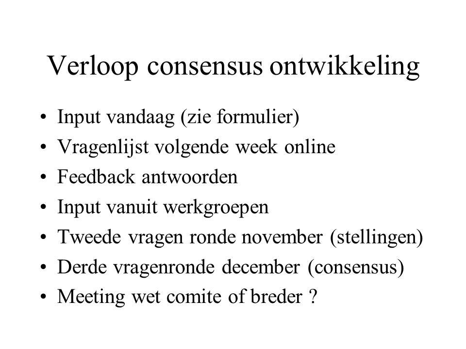 Verloop consensus ontwikkeling Input vandaag (zie formulier) Vragenlijst volgende week online Feedback antwoorden Input vanuit werkgroepen Tweede vragen ronde november (stellingen) Derde vragenronde december (consensus) Meeting wet comite of breder ?