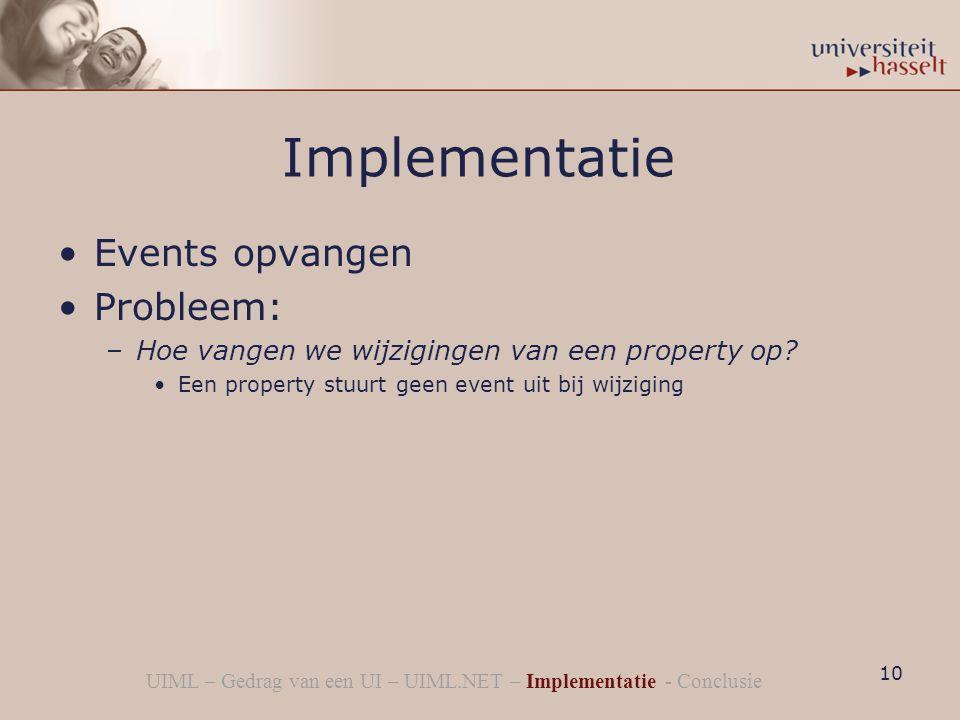 Implementatie Events opvangen Probleem: –Hoe vangen we wijzigingen van een property op.