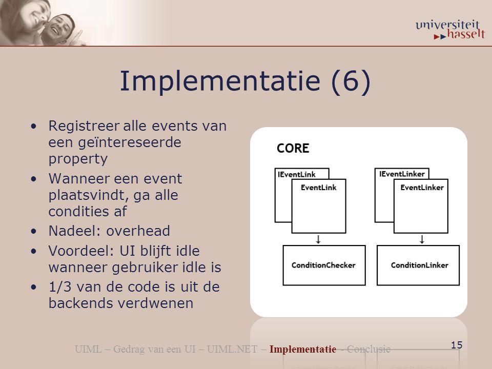 Implementatie (6) Registreer alle events van een geïntereseerde property Wanneer een event plaatsvindt, ga alle condities af Nadeel: overhead Voordeel: UI blijft idle wanneer gebruiker idle is 1/3 van de code is uit de backends verdwenen 15 UIML – Gedrag van een UI – UIML.NET – Implementatie - Conclusie