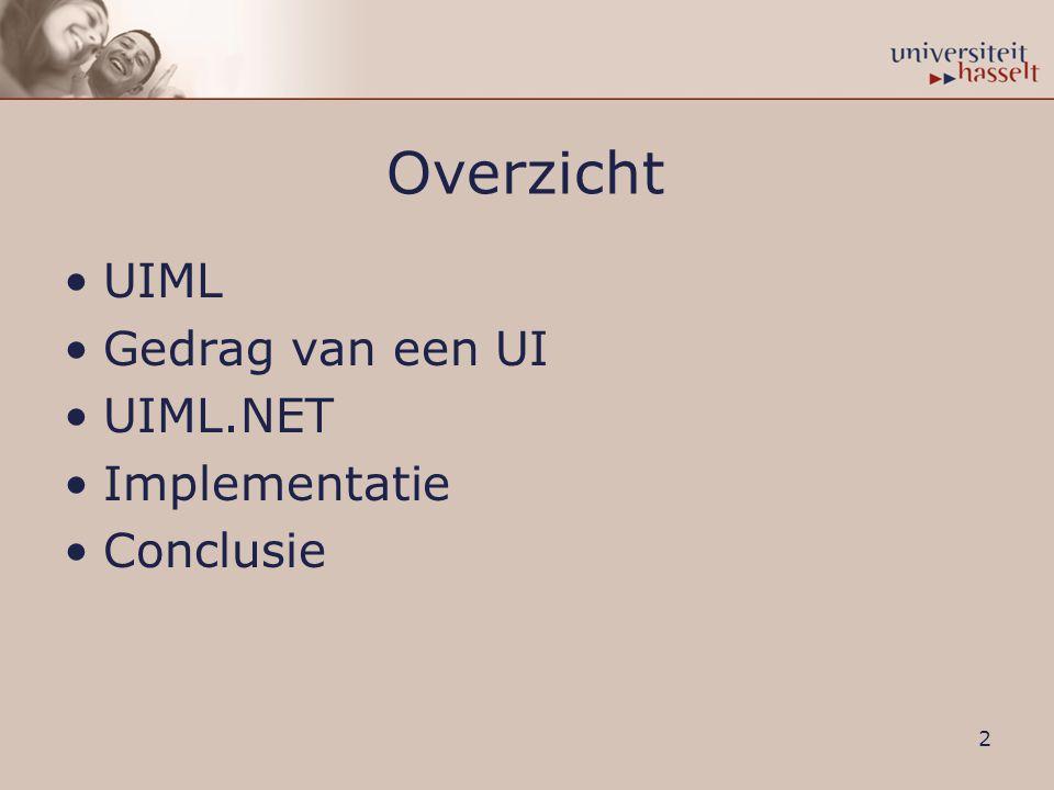 Overzicht UIML Gedrag van een UI UIML.NET Implementatie Conclusie 2