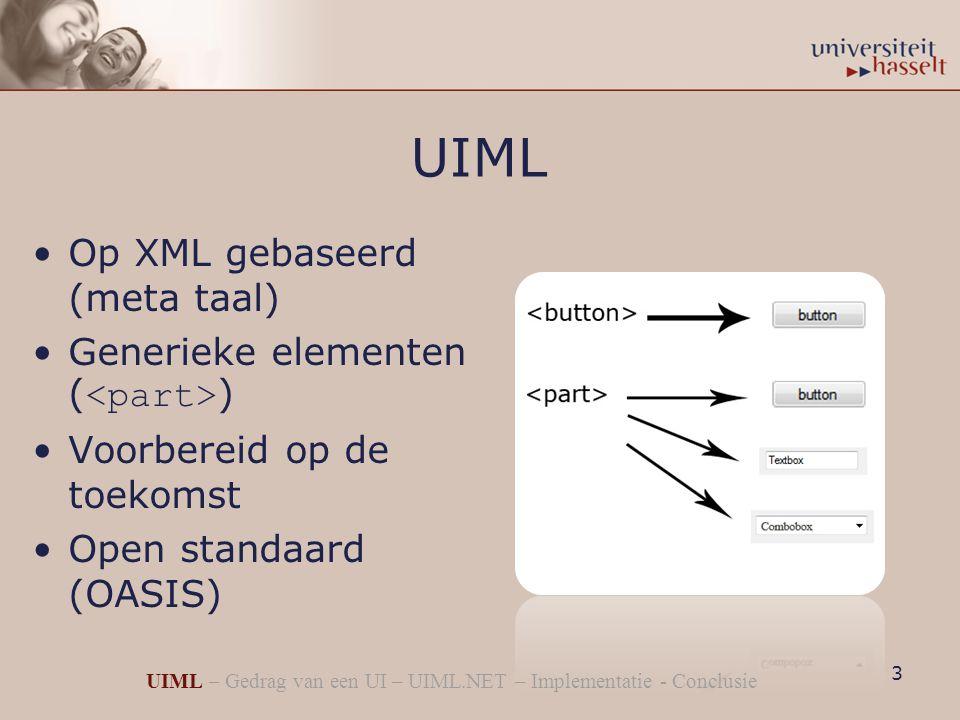 UIML Op XML gebaseerd (meta taal) Generieke elementen ( ) Voorbereid op de toekomst Open standaard (OASIS) 3 UIML – Gedrag van een UI – UIML.NET – Implementatie - Conclusie