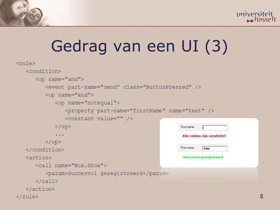 Gedrag van een UI (3)... Succesvol geregistreerd 8
