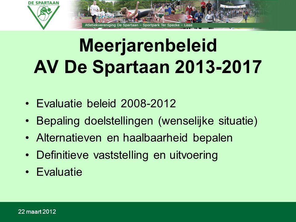 22 maart 2012 Meerjarenbeleid AV De Spartaan 2013-2017 Evaluatie beleid 2008-2012 Bepaling doelstellingen (wenselijke situatie) Alternatieven en haalbaarheid bepalen Definitieve vaststelling en uitvoering Evaluatie
