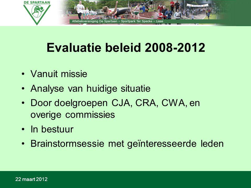 22 maart 2012 Evaluatie beleid 2008-2012 Vanuit missie Analyse van huidige situatie Door doelgroepen CJA, CRA, CWA, en overige commissies In bestuur Brainstormsessie met geïnteresseerde leden