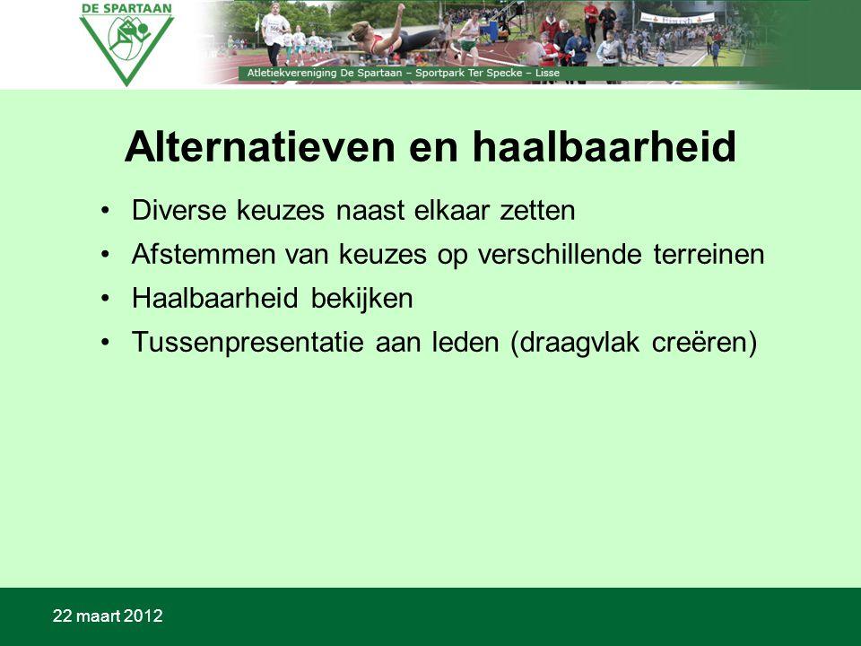 22 maart 2012 Alternatieven en haalbaarheid Diverse keuzes naast elkaar zetten Afstemmen van keuzes op verschillende terreinen Haalbaarheid bekijken Tussenpresentatie aan leden (draagvlak creëren)