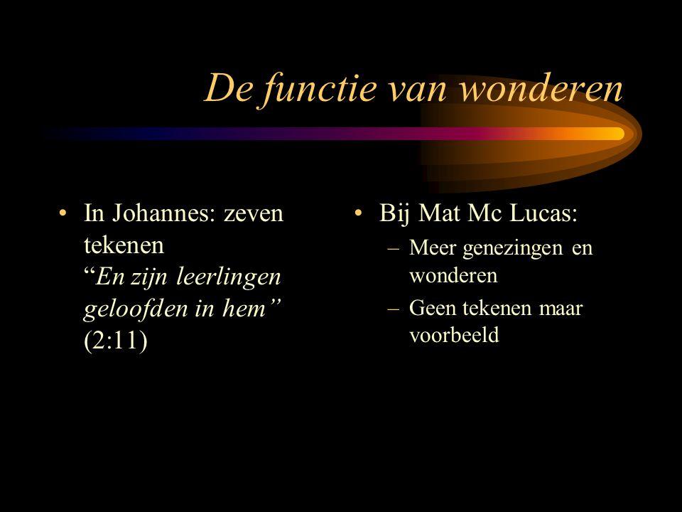 De functie van wonderen In Johannes: zeven tekenen En zijn leerlingen geloofden in hem (2:11) Bij Mat Mc Lucas: –Meer genezingen en wonderen –Geen tekenen maar voorbeeld