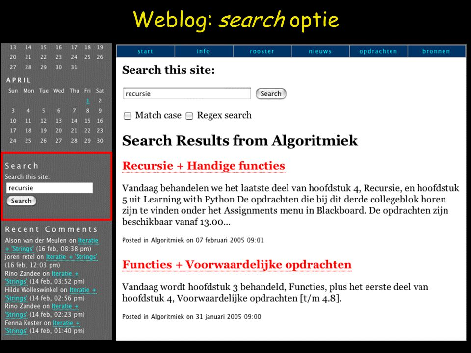 Weblog: search optie