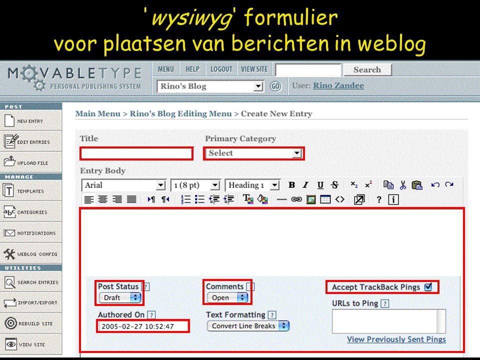 wysiwyg formulier voor plaatsen van berichten in weblog