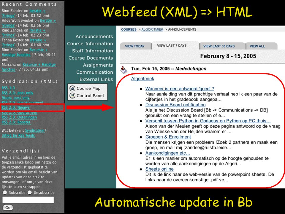 Webfeed (XML) => HTML Automatische update in Bb