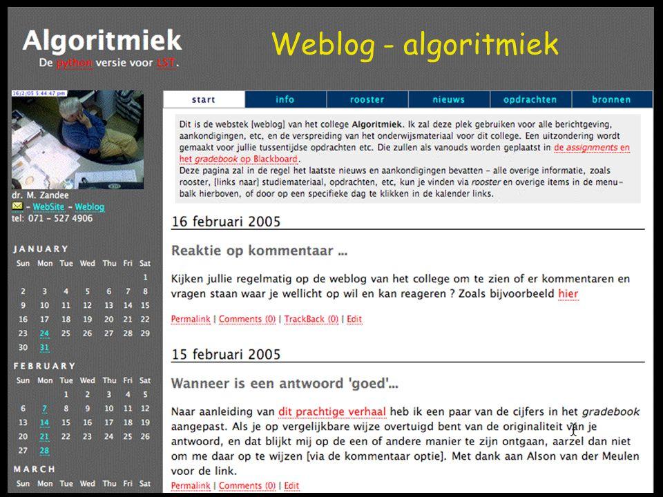 Weblog - algoritmiek