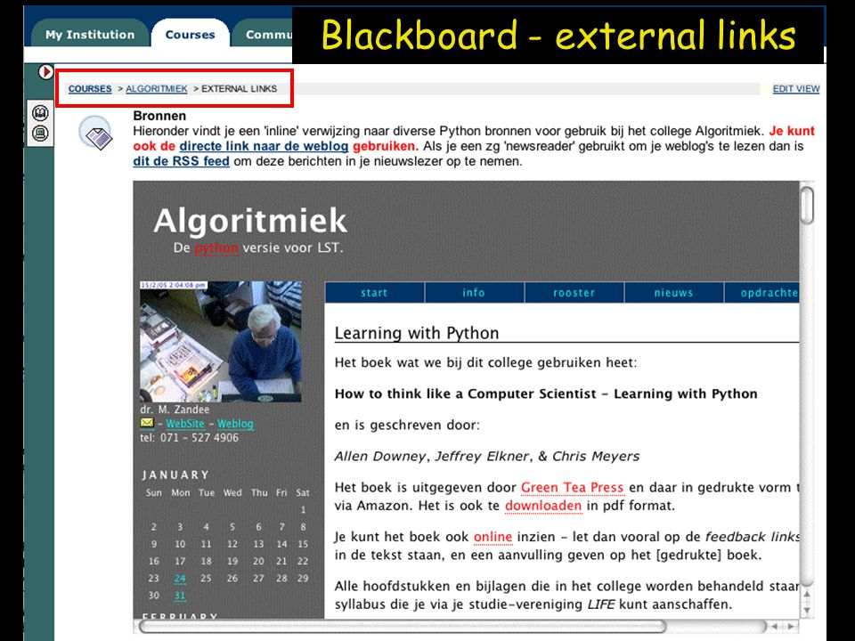 Blackboard - external links