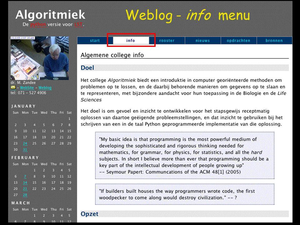 Weblog - info menu