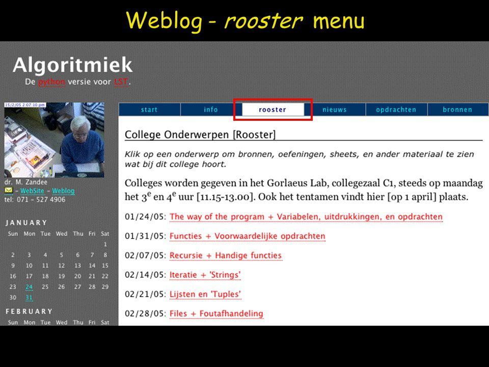 Weblog - rooster menu