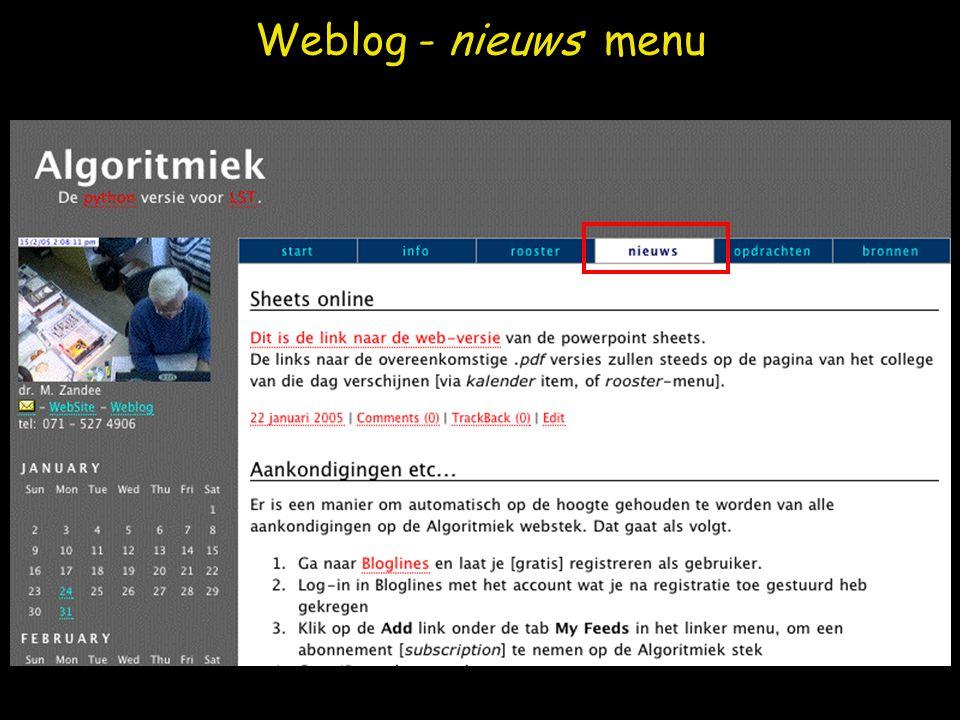 Weblog - opdrachten menu