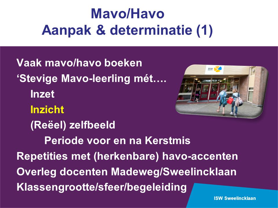 ISW Sweelincklaan Mavo/Havo Aanpak & determinatie (1) Vaak mavo/havo boeken 'Stevige Mavo-leerling mét….