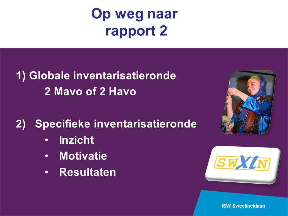 ISW Sweelincklaan Op weg naar rapport 2 1) Globale inventarisatieronde 2 Mavo of 2 Havo 2) Specifieke inventarisatieronde Inzicht Motivatie Resultaten