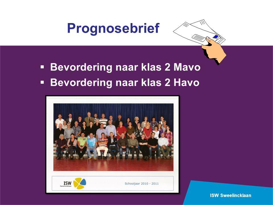 ISW Sweelincklaan Prognosebrief  Bevordering naar klas 2 Mavo  Bevordering naar klas 2 Havo