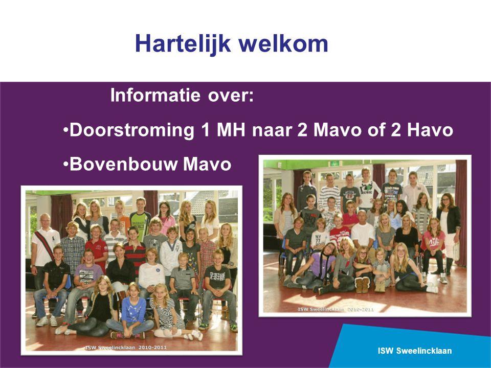 ISW Sweelincklaan Hartelijk welkom Informatie over: Doorstroming 1 MH naar 2 Mavo of 2 Havo Bovenbouw Mavo