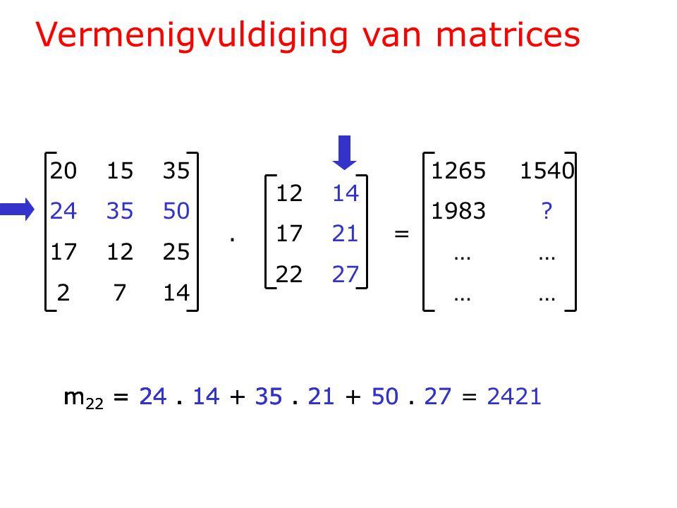 Vermenigvuldiging van matrices 201535 243550 171225 2714 1214.1721= 2227 1265 1540 1983 .