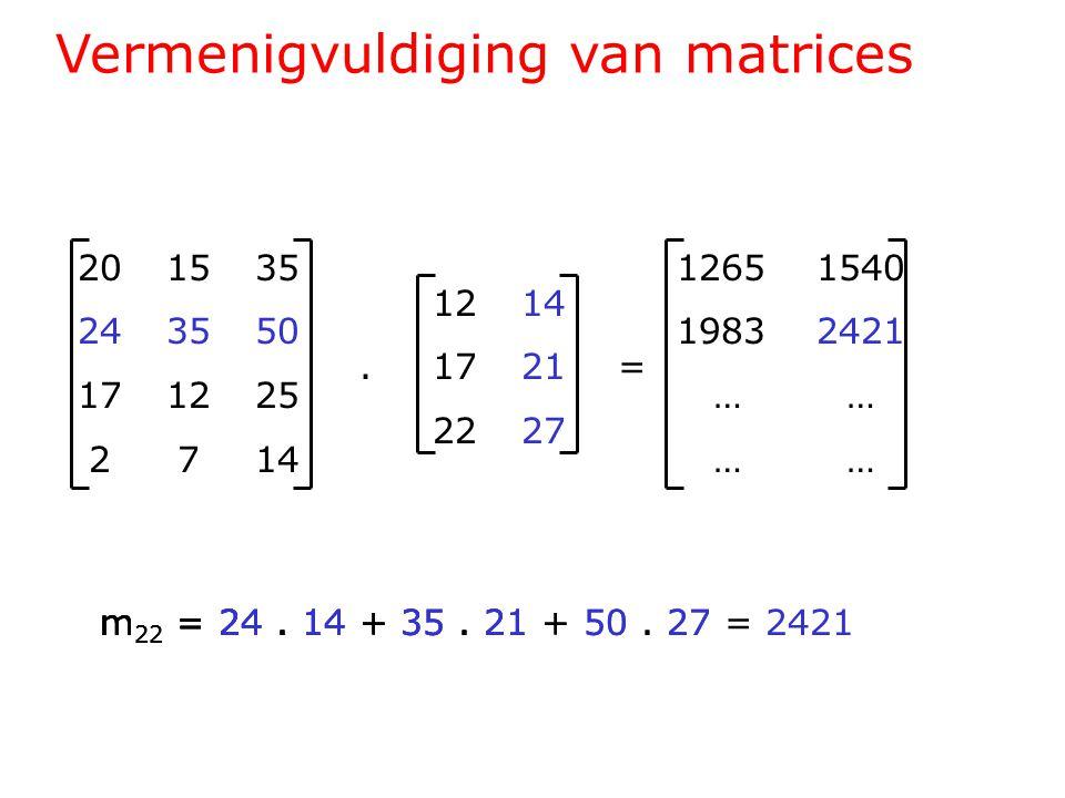 Vermenigvuldiging van matrices 201535 243550 171225 2714 1214.1721= 2227 1265 1540 1983 2421 … … m 22 = 24.
