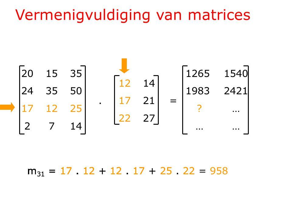 Vermenigvuldiging van matrices 201535 243550 171225 2714 1214.1721= 2227 1265 1540 1983 2421 .