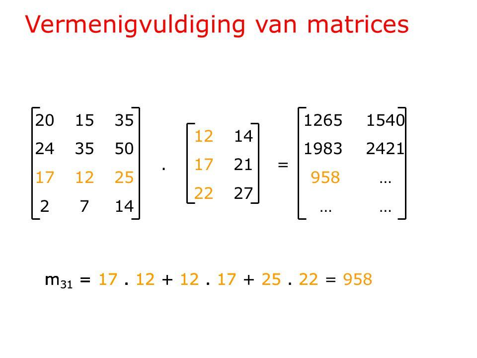 Vermenigvuldiging van matrices 201535 243550 171225 2714 1214.1721= 2227 1265 1540 1983 2421 958 … … … m 31 = 17.