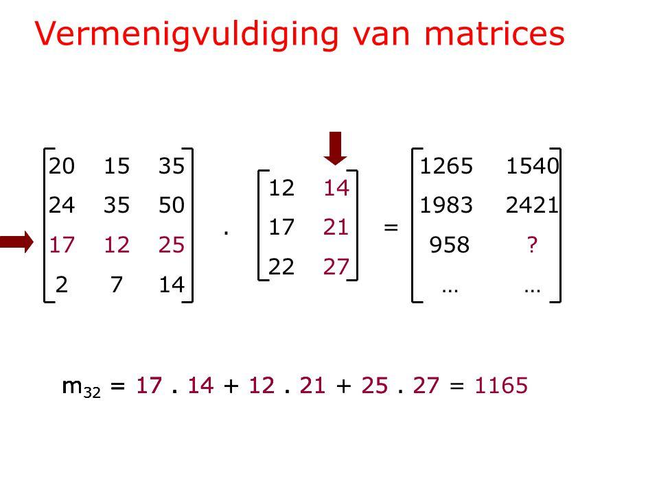 Vermenigvuldiging van matrices 201535 243550 171225 2714 1214.1721= 2227 1265 1540 1983 2421 958 .
